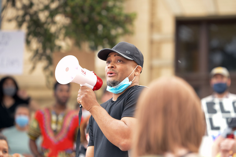 Matthew Gaston | The Sheridan Press<br>Sheridan resident Derrick Linzy gave a passionate speech on the steps of the courthouse about his childhood experience as a young black kid growing up in the South and the struggles he has faced here in Wyoming as a black man Friday, June 5, 2020. Many who attended the Black Lives Matter protest were brought to tears by Linzy's words of struggle and hope.