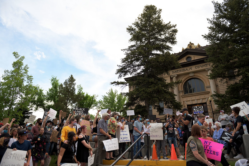 Allayana Darrow | The Sheridan Press<br /> Hundreds gathered on the steps of the Sheridan County Courthouse to voice their experiences and spread awareness of the Black Lives Matter movement Friday, June 5, 2020.