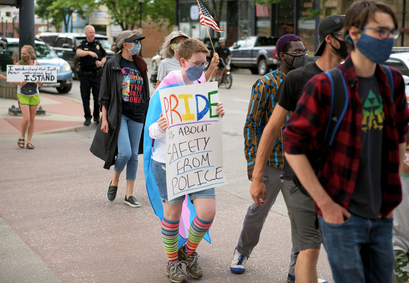 Allayana Darrow | The Sheridan Press<br /> Some protesters brought the rainbow to the Black Lives Matter Solidarity Peaceful Protest Friday, June 5, 2020, as a reminder that the LGBTQIA community has experienced marginalization in the U.S. as well.