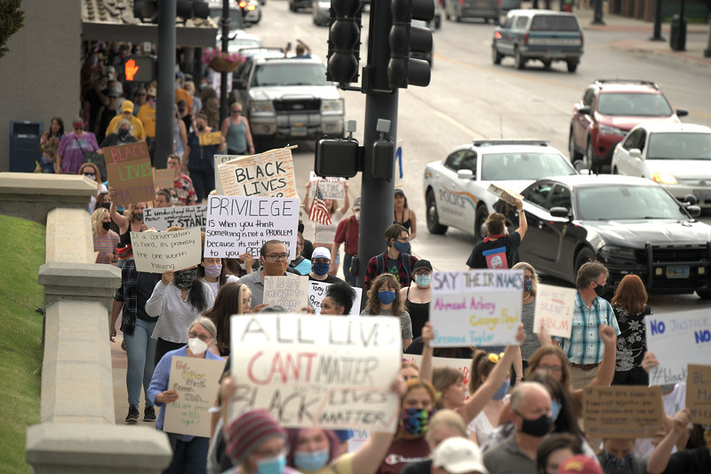 Matthew Gaston | The Sheridan Press<br>Close to 500 Sheridanites gathered to march for the Black Lives Matter Solidarity Peaceful Protest Friday, June 5, 2020. Sheridan police were on hand to make sure protesters made it safely from the library to the courthouse and back without incident.