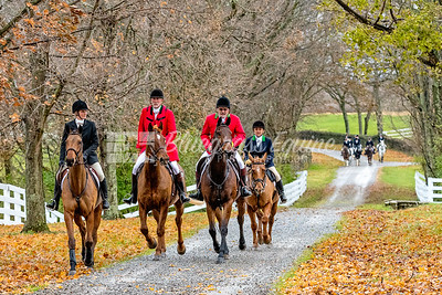 Riders on their way to Blessing Ceremony. The Blessing of the Hounds Ceremony. The Long Run Woodford Hounds at Shakertown Village, Harrodsburg, Kentucky 11.24.18 Photos by Laura Palazzolo