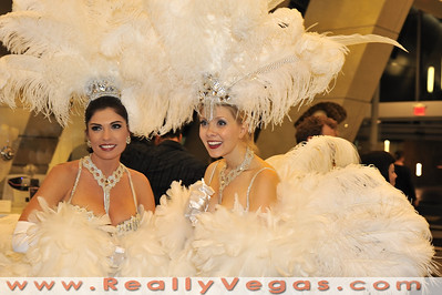 "Image from ""Bling! An Exhibit of Iconic Showgirl Costumes"" showing in the lobby of Building C at the World Market Center in Las Vegas."