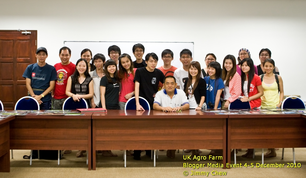 "Group photo of Blogger Media Event with founder Goh Un Keng. His first name initials ""UK"" forms part of the name of the place -- UK Agro Farm. So, it is not Ulu Kelang or Kluang, or United Kingdom as most would have thought!<br /> <br /> During the session, UK shared with bloggers on the early days of the farm formation. The farm has earned a HACCP certification in its milk productions process, thus giving the assurance on the health quality of goat products. The founder also shared a critical success factor in this field -- that one must must be prepared to work hard and work long hours, especially to care for the goats.<br /> <br /> All the flowers of all the tomorrows are in the seeds of today.<br /> - author unknown<br /> <br /> Group photo in Facebook: <a href=""http://www.facebook.com/photo.php?fbid=10150106501398529&set=o.108276325860785&comments&ref=mf"">http://www.facebook.com/photo.php?fbid=10150106501398529&set=o.108276325860785&comments&ref=mf</a>"