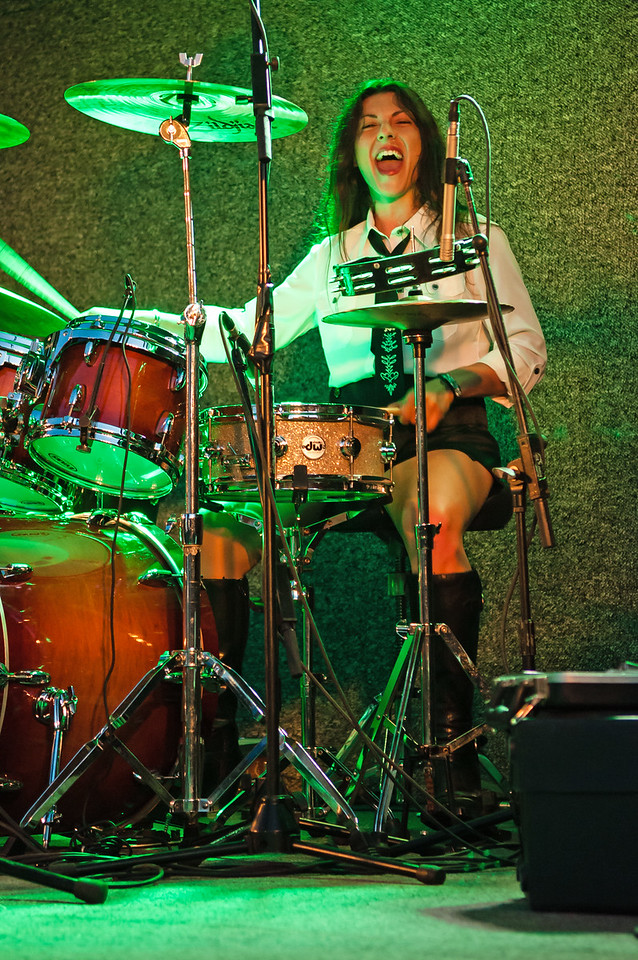 Gina Knight drummer for Blooze Brothers Band