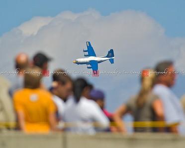 "C-130 ""Fat Albert"" banks into a turn over spectators."