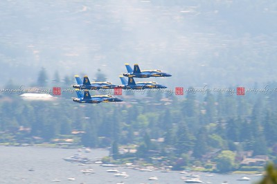 Jets in formation flying low over Lake Washington