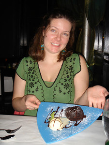 Megan and her lovely dessert.    We were so full!  But how could we not make room in our tummies for this yummy dessert!