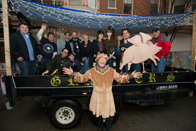 Jim Tarbell and the gang from Grammer's before the parade at Bockfest on Friday