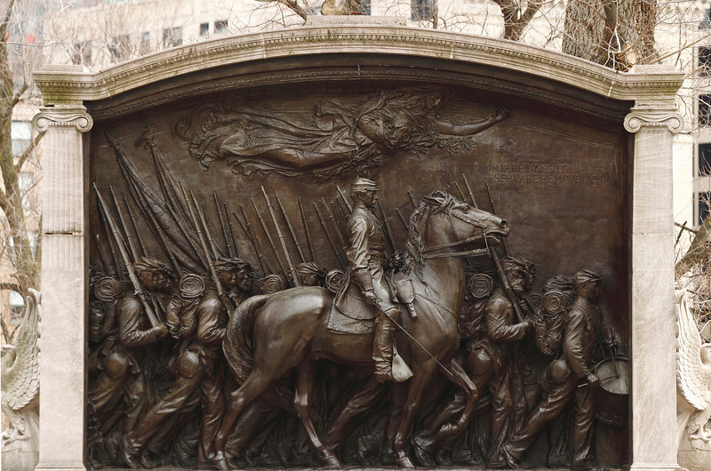 """2014 Mar 23 Boston,MA-54th Massachusetts Volunteer Regiment Company A High Relief Bronze sculpture located across from the state capital building.  The 54th was one of the original colored units in federal service under the Union Army during the Civil War.  It was led by Robert Gould Shaw and Norwood Penrose """"Pen"""" Hallowell."""