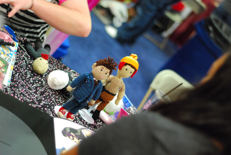 Crocheted 10th Doctor and Jayne of Firefly.