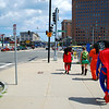 Superfolks walking to the Comic Con.