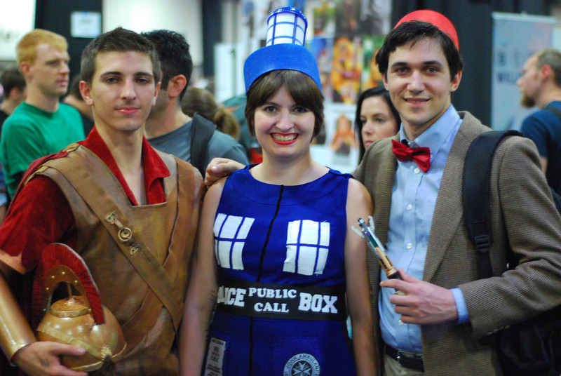 Rory, the TARDIS, and the 11th Doctor. Fezes AND bowties are cool.