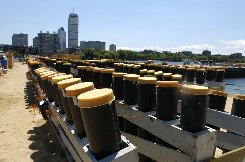 Mortars loaded with fireworks sit ready for Boston's Fourth of July celebration on the Charles River in Boston, Saturday, July 3, 2004.