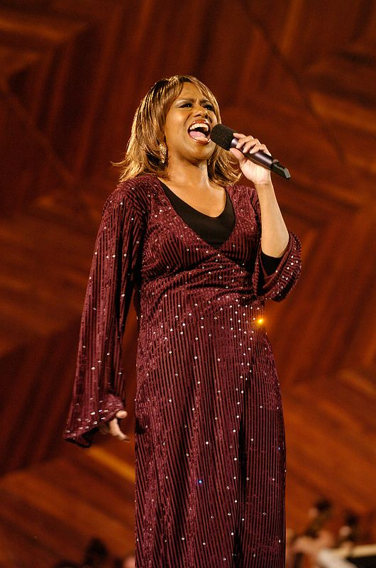 Jennifer Holliday sings during a rehearsal performance for Boston's Fourth of July celebration at the Hatch Shell in Boston, Saturday, July 3, 2004.