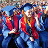 "From left to right Hannah McCallum, Steve McCleskey, Madeline McCormack, and Mauricio Medellin turn their tassels after the Centaurus High School Commencement at the school in Lafayette on Saturday May 22, 2010.<br /> For more photos and a video of the graduation go to  <a href=""http://www.dailycamera.com"">http://www.dailycamera.com</a><br /> Photo by Paul Aiken / The Camara /"