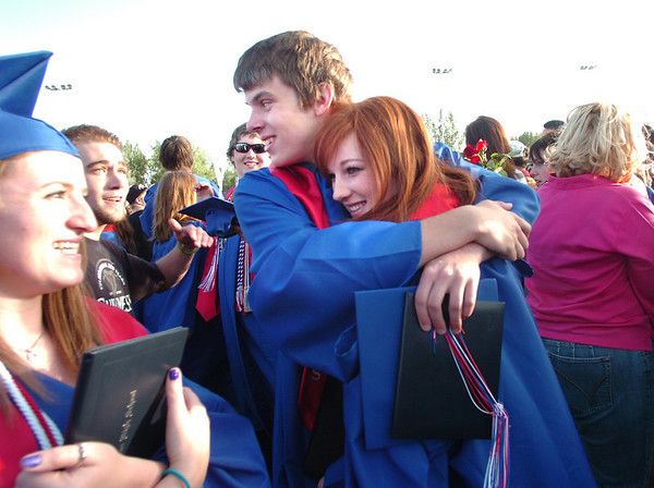 "Scott Loftesness hugs Liz Pancoast after the Centaurus High School Commencement at the school in Lafayette on Saturday May 22, 2010.<br /> For more photos and a video of the graduation go to  <a href=""http://www.dailycamera.com"">http://www.dailycamera.com</a><br /> Photo by Paul Aiken / The Camara /"
