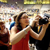 "Anne Tengler looks for her son Riley to enter the floor during the beginning of the Monarch High School Commencement at the Coors Events Center on the CU Boulder Campus on Saturday May 22, 2010.<br /> For more photos and a video of the graduation go to  <a href=""http://www.dailycamera.com"">http://www.dailycamera.com</a><br /> Photo by Paul Aiken / The Camara /"
