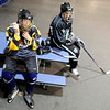 "Will Graber, 14, of Longmont, left, and Mike Leslie, 14, of Lafayette, share a laugh while taking a break during a ""Stick and Puck"" open ice session at Boulder Valley Ice at Superior on Sunday, April 3, in Superior. For more photos and video go to  <a href=""http://www.dailycamera.com"">http://www.dailycamera.com</a><br /> Jeremy Papasso/ Camera"