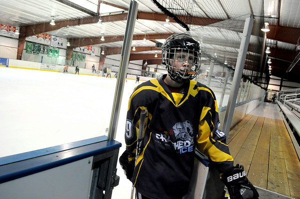 """Will Graber, 14, of Longmont, takes a break during a """"Stick and Puck"""" open ice session at Boulder Valley Ice at Superior on Sunday, April 3, in Superior. For more photos and video go to  <a href=""""http://www.dailycamera.com"""">http://www.dailycamera.com</a><br /> Jeremy Papasso/ Camera"""
