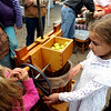 Kiana Taylor, right, waits her turn to crush apples for cider.<br /> The Boulder Waldorf Kindergarten held its Michaelmas Harvest Festival at the school on Friday.<br /> Cliff Grassmick / October 2, 2009