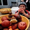 Sullivan Ruddick, 18-months, tries out one of the potatoes he was cleaning.<br /> The Boulder Waldorf Kindergarten held its Michaelmas Harvest Festival at the school on Friday.<br /> Cliff Grassmick / October 2, 2009