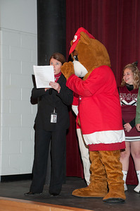 Patriot photos by Scott Weldon Brandywine Heights Principal Heather Piperato and the State Farm bear.