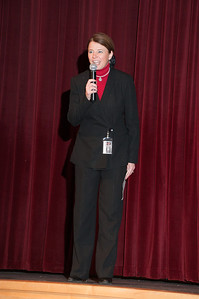 Principal Heather Piperato during the Brandywine Heights H.S. assembly announcing a $25,000 Celebrate My Drive grant.