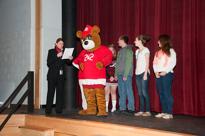Patriot photos by Scott Weldon Brandywine Heights Principal Heather Piperato, SADD Advisor Michele Moore and members of SADD are joined by the State Farm bear.