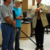 Kayla Rice/Reformer                                <br /> (From left) GPI Construction President, Joe Fortier and Tom Batchelor are recognized as Brattleboro Retreat CEO Dr. Robert E. Simpson acknowledges the work of GPI Construction during the Brattleboro Retreat pharmacy's open house Thursday afternoon.