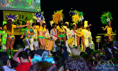 Crowd watching the Brazilian Carnaval dancers on stage