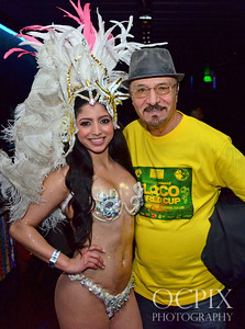 Guests posing with the Brazilian Carnaval dancers at Club Nokia in Los Angeles