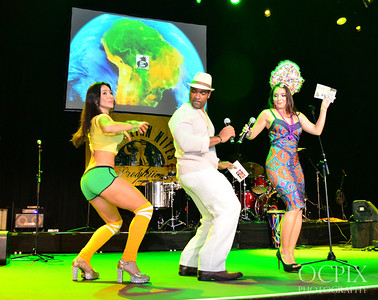 Dancing on stage with the hosts of the Brazilian Carnaval in Los Angeles