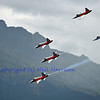 SION, SWITZERLAND - SEPTEMBER 17: Swiss airforce team in close formation at the Breitling Air show.  September 17, 2011 in Sion, Switzerland