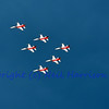 SION, SWITZERLAND - SEPTEMBER 18: Patrouille suisse in formation at the Breitling Air show.  September 18, 2011 in Sion, Switzerland