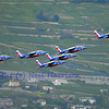 SION, SWITZERLAND - SEPTEMBER 17:  Patrouille de France in close formation at the Breitling Air show.  September 17, 2011 in Sion, Switzerland