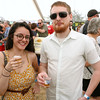 Enjoying a little beer at the annual Nashua River Brewers Festival on Saturday at Riverfront Park in Fitchburg was Kassy Cruz Martinez of Fitchburg with Ken Sand of Gardner. SENTINEIL & ENTERPRISE/JOHN LOVE