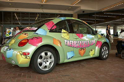 The Brick Chick's VW greets visitors at the entrance to the Sheraton.