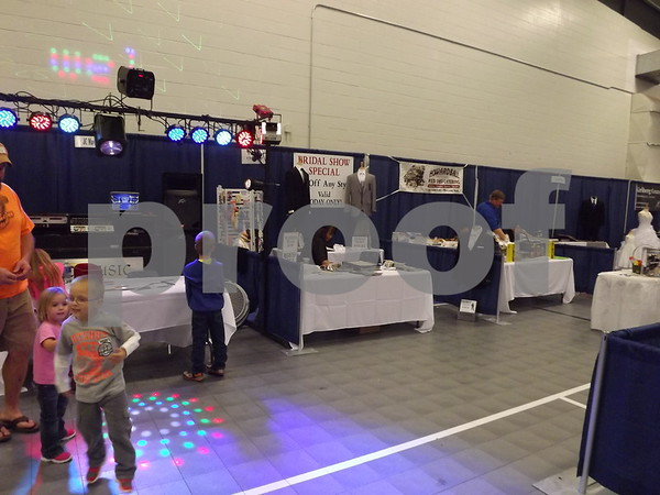 Booths set up around to advertise for the show.