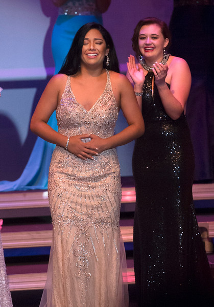 Justin Sheely | The Sheridan Press<br /> Sheridan's Becky Bridger, left, reacts after winning the Miss Wyoming 2018 title at the WYO Performing Arts and Education Center Saturday, June 23, 2018.