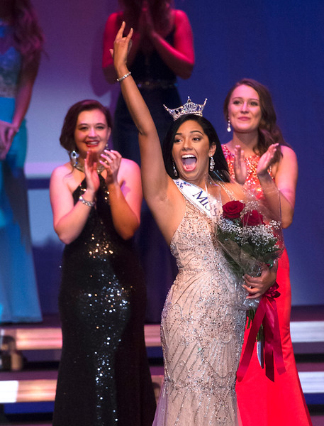 Justin Sheely | The Sheridan Press<br /> Sheridan's Becky Bridger celebrates after winning the Miss Wyoming 2018 title at the WYO Performing Arts and Education Center Saturday, June 23, 2018.