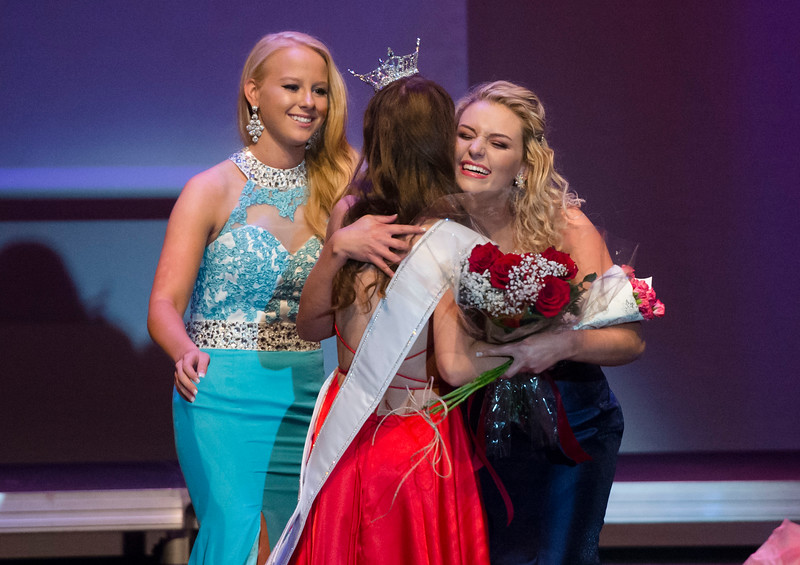 Justin Sheely | The Sheridan Press<br /> Sheridan's Taylor Greig, center, is congratulated by contestants Juliana Kelert, left, and Logen Livingston as Greig wins the Miss Wyoming's Outstanding Teen 2018 title at the WYO Performing Arts and Education Center Saturday, June 23, 2018.