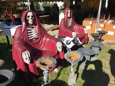 A pair of plastic skeleton chairs, because why not?