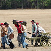 A cannon is set up for a demonstration firing.