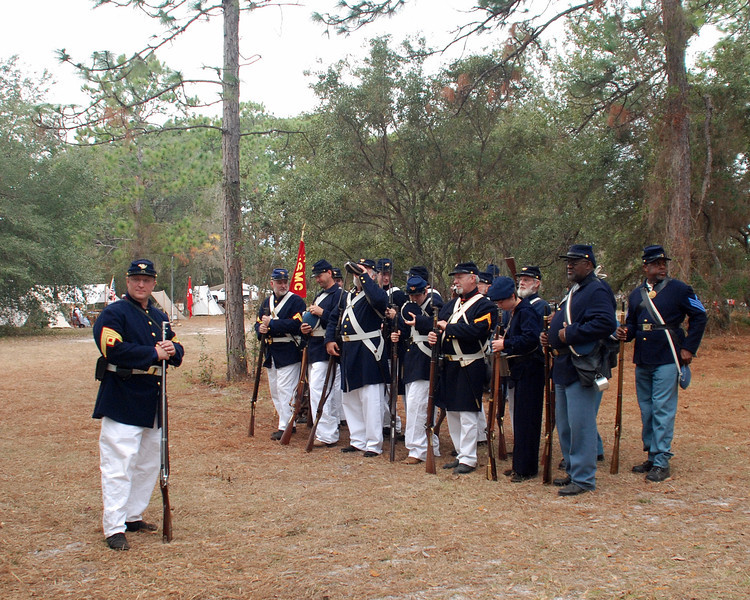 Companies of Union soldiers muster before the battle.