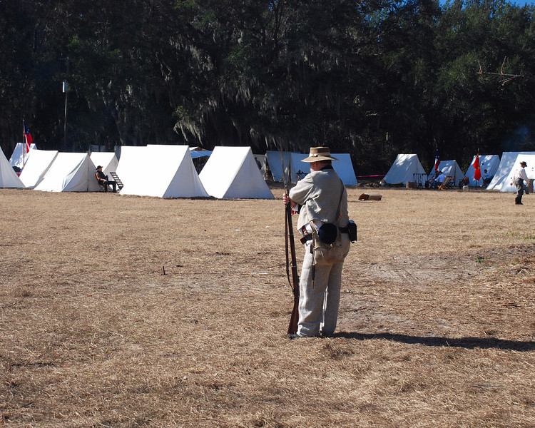 A sentry at the Confederate encampment.
