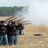 The Union soldiers regroup and fire a volley.