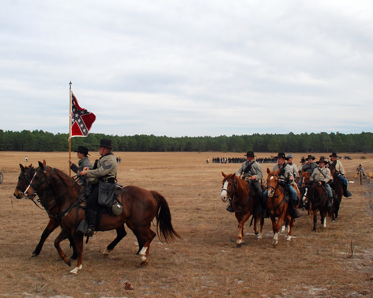 The Confederate Cavalry take their positions.