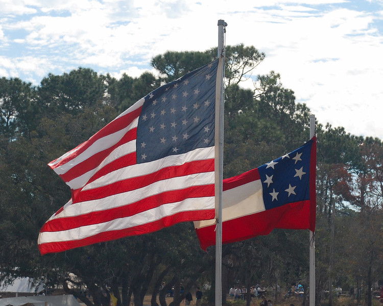 The flags of the Union and Confederate forces at the time of the Shiloh Battle.