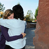 Siena Faughnan, 15, left, and her aunt Maureen Stines comfort each other at the 9/11 Memorial on Friday as they remember Chris Faughnan, father of Siena and brother of Maureen, who died in the World Trade Center attacks. <br /> <br /> Sept. 11, 2009<br /> Staff photo/David R. Jennings