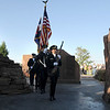 The combined police and fire honor guard carry the colors in for Friday's ceremony at the 9/11 Memorial in Community Park in Broomfield.<br /> <br /> Sept. 11, 2009<br /> Staff photo/David R. Jennings